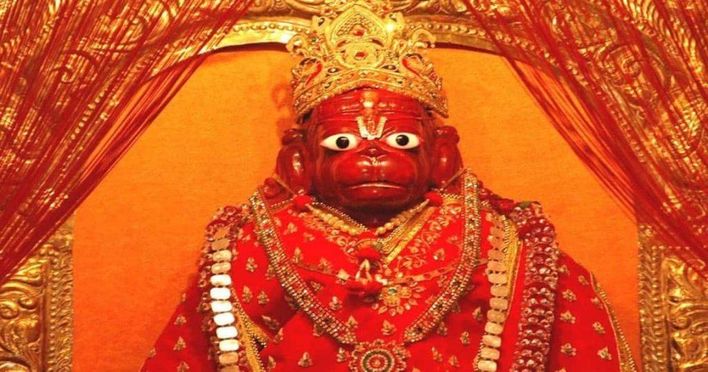 Hanuman idols are shown in red(sindoor) or orange(saffron