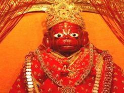 Hanuman idol in red