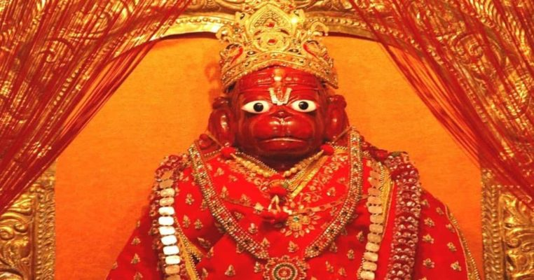 Hanuman idols are shown in red(sindoor) or orange(saffron/kesar) color.