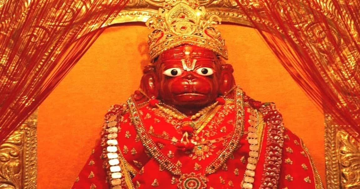 Hanuman idols are shown in red(sindoor) or orange(saffron/kesar) color.