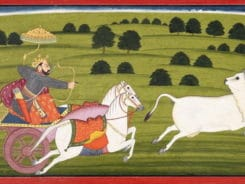 King Prithu chasing earth