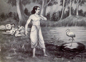 Riddle contest between Yudhishthira & Yaksha (Crane) – Yaksha Prashna