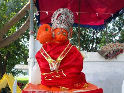 Hanuman Idol in saffron - orange