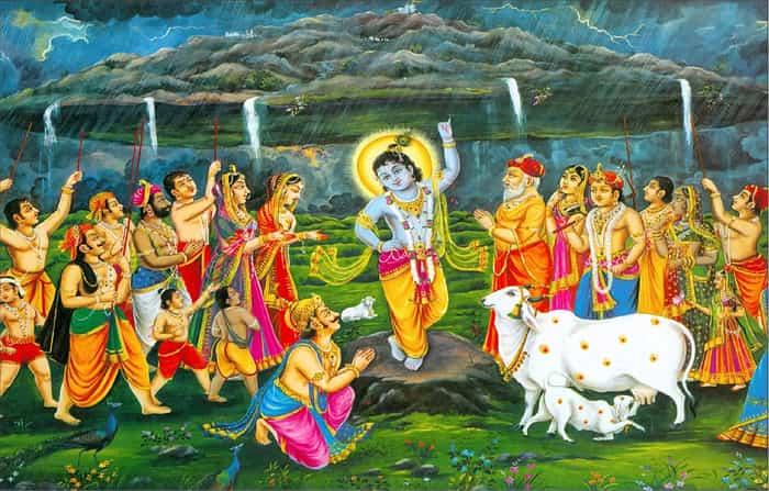 Govardhan Puja - Krishna lifting Govardhan Parvat