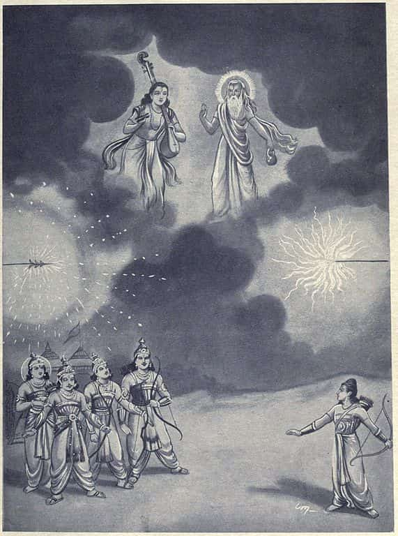 Narada and Vyasa came to stop Brahmashirsha Astra used by Aswathama and Arjuna