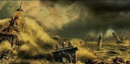 Dwarka sank into the sea