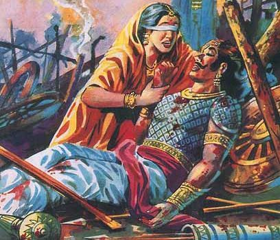 Gandhari crying on the death of her children and curses Krishna