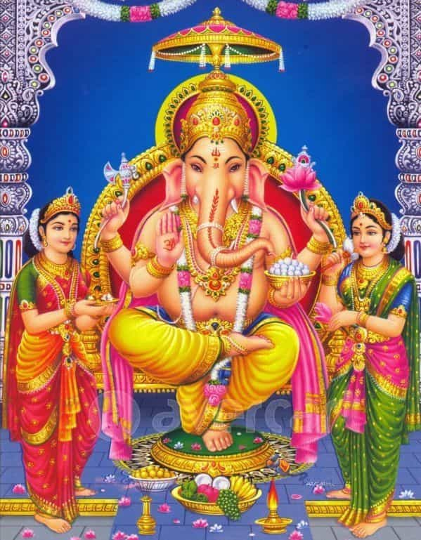 Ganesh with his wives - Riddhi and Buddhi