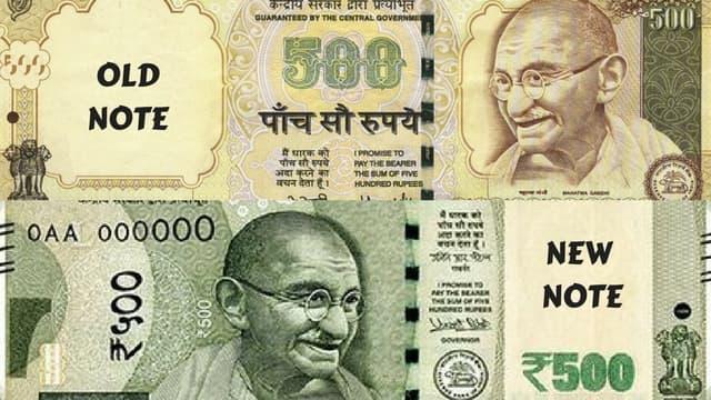 Photo of Gandhi in old note vs in new note