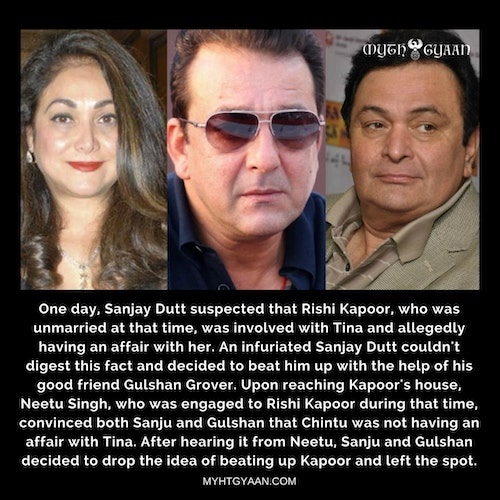 Sanjay was so possessive about Tina that once along with Gulshan Grover, he almost got into a fist-fight with Rishi Kapoor over his alleged affair with actress Tina Munim (Ambani). - Sanjay Dutt Facts