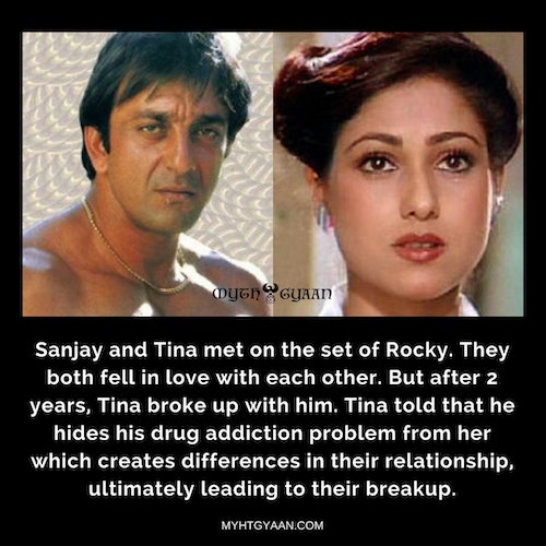 Tina Munim and Sanjay Dutt were in a relationship for almost 2 years. She broke up with him due to his drug addiction and possessiveness. - Sanjay Dutt Facts