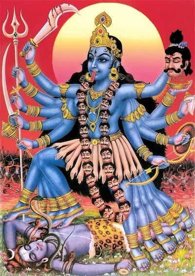 Kali Puja - Goddess Kalifrom the forehead of Goddess Durga