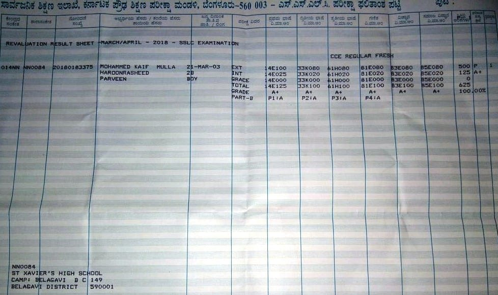 marksheet of karanataka topper applied for re-evaluation