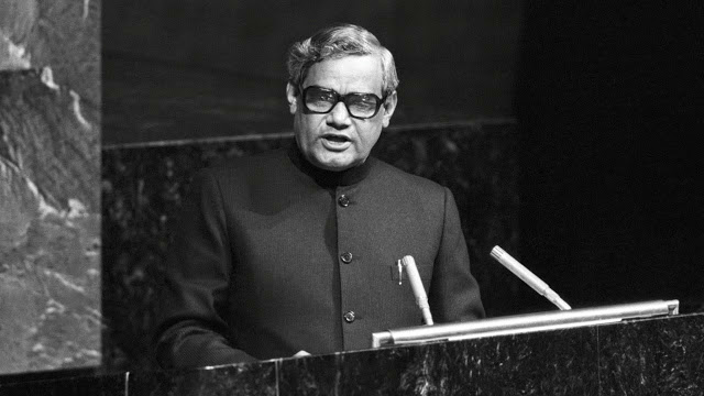 In 1977, Vajpayee being the Minister of External Affairs of India became the first person to deliver a speech in Hindi to the United Nations General Assembly.
