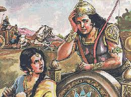 Arjun (Brihannala) and Uttar running away from the battle. Later on Arjun reveals his different names to uttar.
