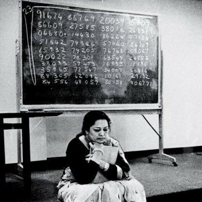 Shakuntala Devi calculating the 23rd root of 201 digit number at Southern Methodist University