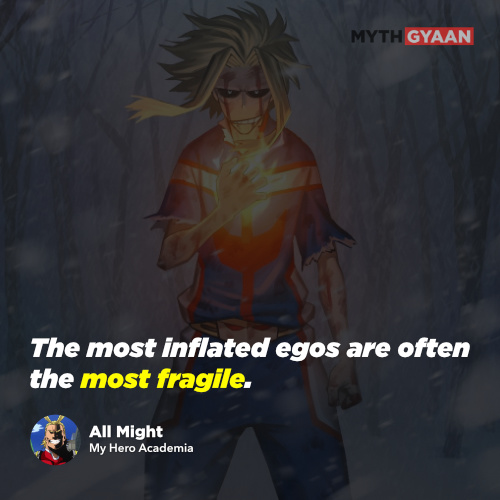 The most inflated egos are often the most fragile. - All Might Quotes - My Hero Academia Quotes