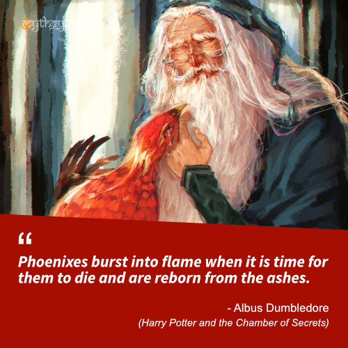 Phoenixes burst into flame when it is time for them to die and are reborn from the ashes. - Albus Dumbledore (Harry Potter and the Chamber of Secrets) - Harry Potter Quotes