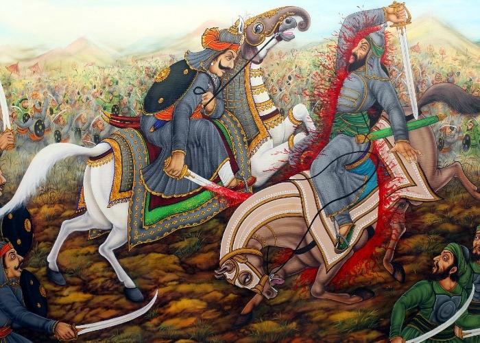 The spear rammed Mughal commander Sultan Khan's body and the horse into the ground when attacked by Amar Singh in the First Battle of Dewair/Diver 1582